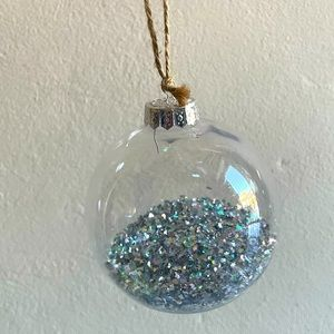Set of 4 large clear glitter filled ornaments